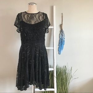 Chan Luu | Black Lace Beaded Cocktail Dress
